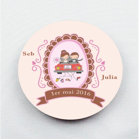 Badge Just Married personnalisable