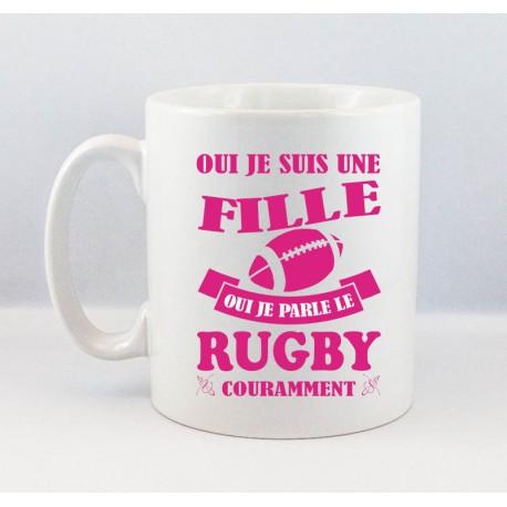 Mug Fille Rugby Fuschia