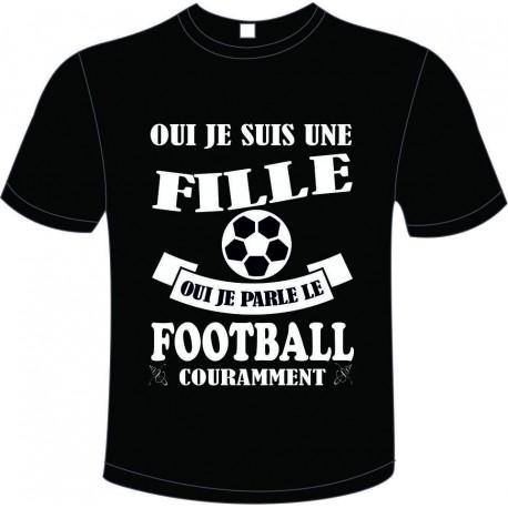 "Tee-shirt Noir B&C pour Femme ""Football"" modèle Homme Exact 190"