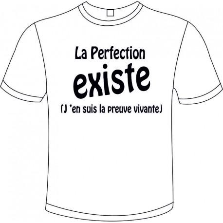 "Tee-shirt Blanc B&C ""La Perfection Existe"" Homme Exact 190"