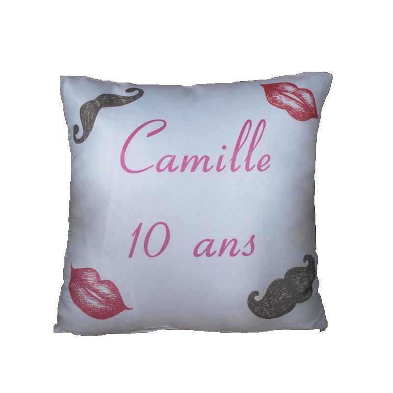 housse de coussin imprimer par sublimation anniversaire moustache d co cadeau original made in. Black Bedroom Furniture Sets. Home Design Ideas