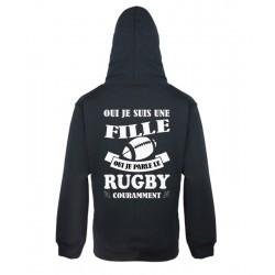 Sweat-shirt Noir à capuche Mixte pour Femme qui parle le Rugby