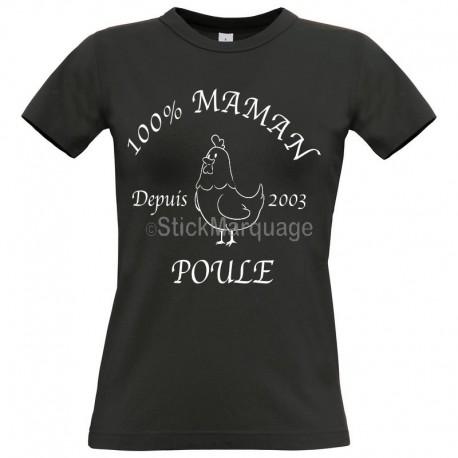 Tee-shirt Noir B&C Femme Exact 190 100% Maman Poule