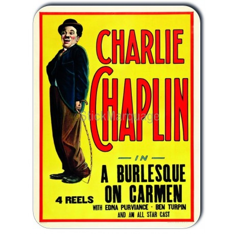 Plaque aluminium Charlie Chaplin In A Burlesque On Carmen