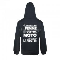 """Sweat-shirt Noir à capuche Mixte pour Femme """"Oui c'est ma moto"""""""