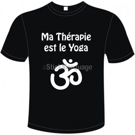 """Tee-shirt Noir B&C """"Ma Thérapie est le Yoga"""" Homme Exact 190"""