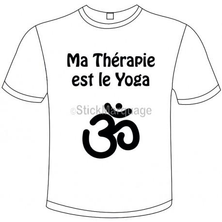 "Tee-shirt Blanc B&C ""Ma Thérapie est le Yoga"" Homme Exact 190"