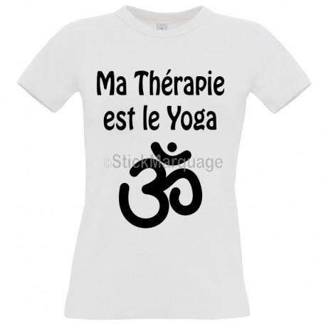 "Tee-shirt Blanc ""Ma Thérapie est le Yoga"" B&C Femme Exact 190"