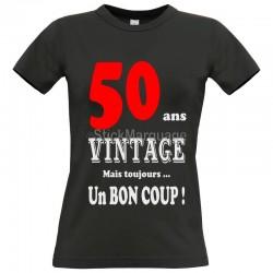 """Tee-shirt Noir """"50 ans Vintage"""" B&C Femme Exact 190"""