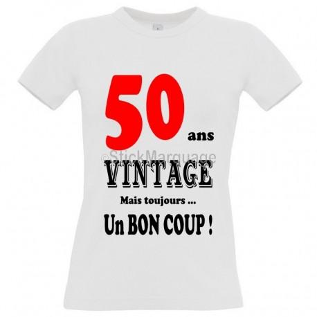 "Tee-shirt Blanc ""50 ans Vintage"" B&C Femme Exact 190"