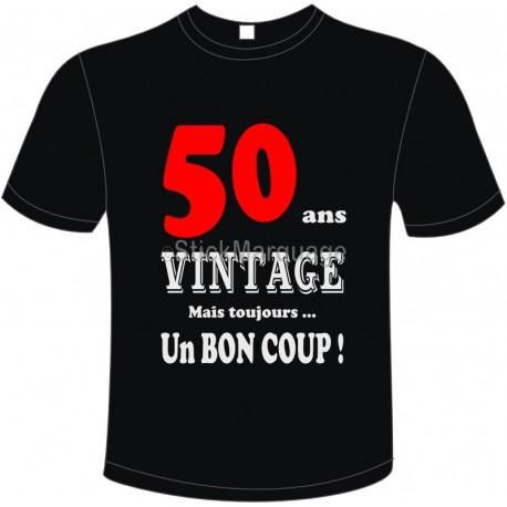 """Tee-shirt Noir B&C """"50 ans Vintage"""" Homme Exact 190"""