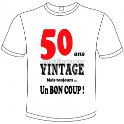 "Tee-shirt Blanc B&C ""50 ans Vintage"" Homme Exact 190"