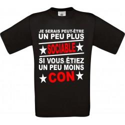 "Tee-shirt Noir B&C ""Un peu plus Sociable"" Homme Exact 190"