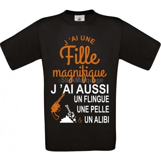 """Tee-shirt Noir B&C """"J'ai 1 fille magnifique"""" Homme Exact 190"""