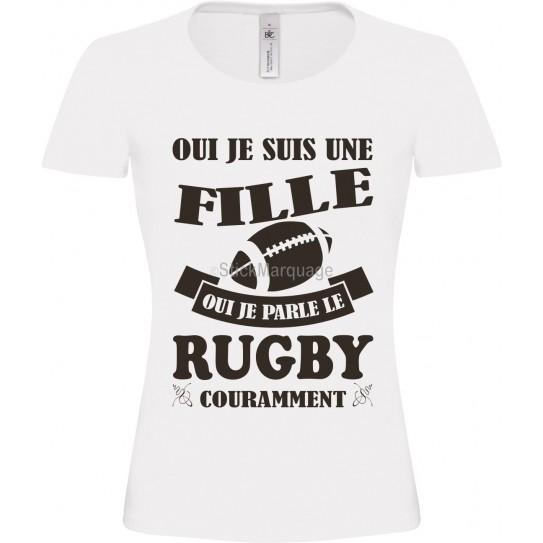 Tee-shirt Blanc B&C Femme Exact 190 Rugby Noir