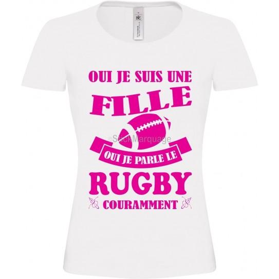 Tee-shirt Blanc B&C Femme Exact 190 Rugby Fuschia