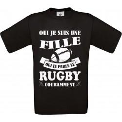 """Tee-shirt Noir B&C pour Femme """"Rugby"""" modèle Homme Exact 190"""