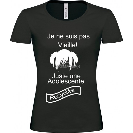"""Tee-shirt Noir """"Je ne suis pas vieille"""" B&C Femme Exact 190"""
