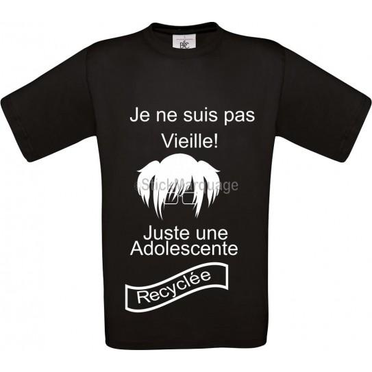 """Tee-shirt Noir B&C pour Femme """"je ne suis pas vieille"""" modèle Homme Exact 190"""