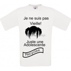 """Tee-shirt Blanc B&C pour Femme """"je ne suis pas vieille"""" modèle Homme Exact 190"""