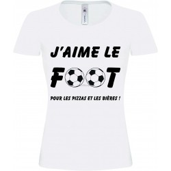 "Tee-shirt Blanc Femme ""J'aime le Foot"""
