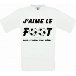 """Tee-shirt Blanc Homme B&C """"J'aime le Foot"""""""