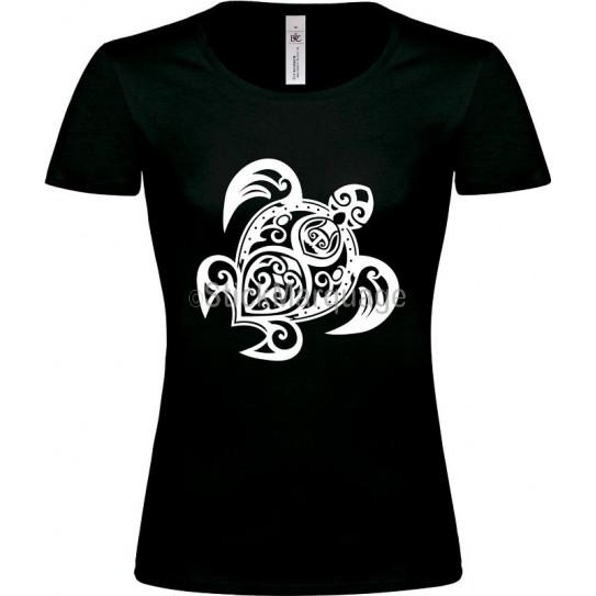 """Tee-shirt Noir """"Tortue Tribal"""" B&C Femme"""