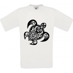 Tee-shirt Blanc Homme B&C Tortue Tribal