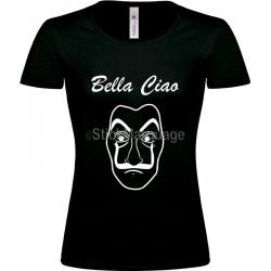 """Tee-shirt Noir """"Bella Ciao"""" B&C Femme"""