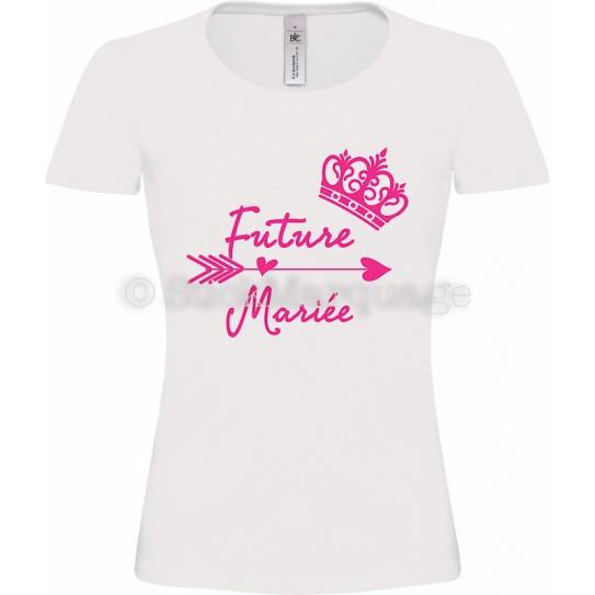 T-shirt Blanc Femme EVJF Future Mariée