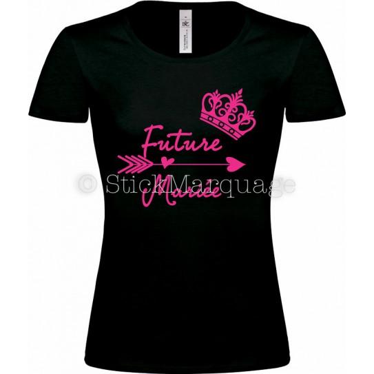T-shirt Noir Femme EVJF Future Mariée
