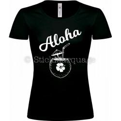 T-shirt Noir Femme Aloha