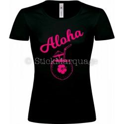 T-shirt Noir flex rose Femme Aloha