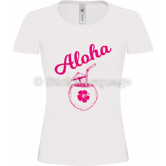 T-shirt Blanc flex rose Femme Aloha