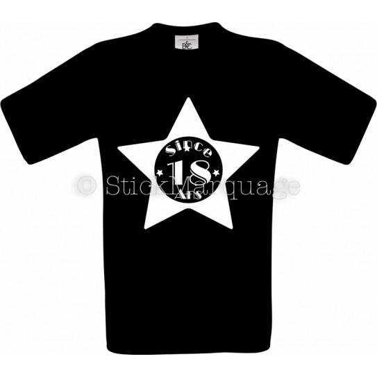 T-shirt noir Homme 18ème Anniversaire - Since 18 Ans