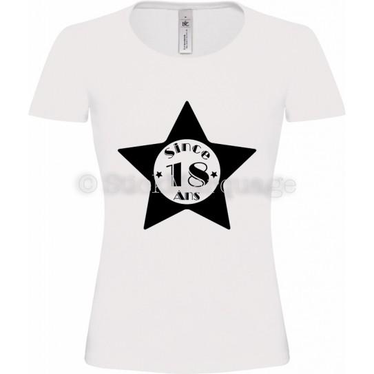"""Tee-shirt Blanc Femme 18ème Anniversaire """"Since 18 Ans"""""""