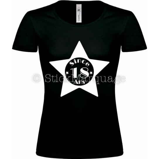 """Tee-shirt Noir Femme 18ème Anniversaire """"Since 18 Ans"""""""