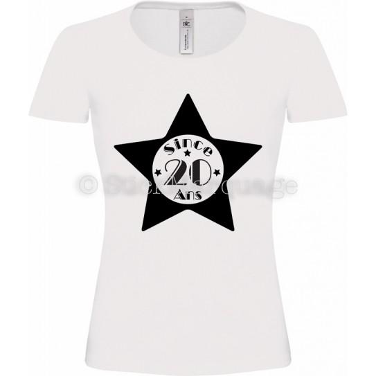 """Tee-shirt Blanc Femme 20ème Anniversaire """"Since 20 Ans"""""""