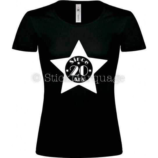 """Tee-shirt Noir Femme 20ème Anniversaire """"Since 20 Ans"""""""