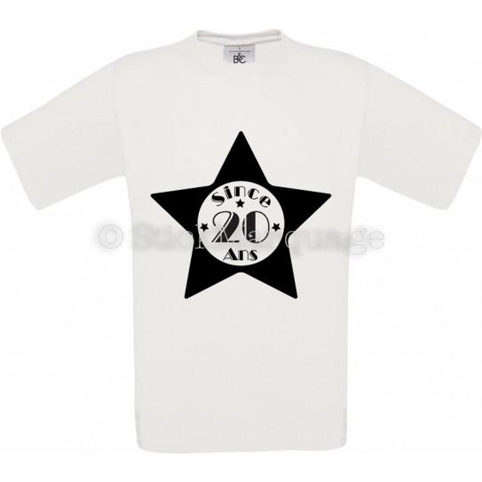 Tee-shirt Blanc Homme 20ème Anniversaire - Since 20 Ans
