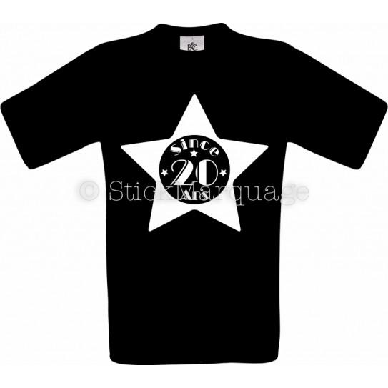 T-shirt noir Homme 20ème Anniversaire - Since 20 Ans