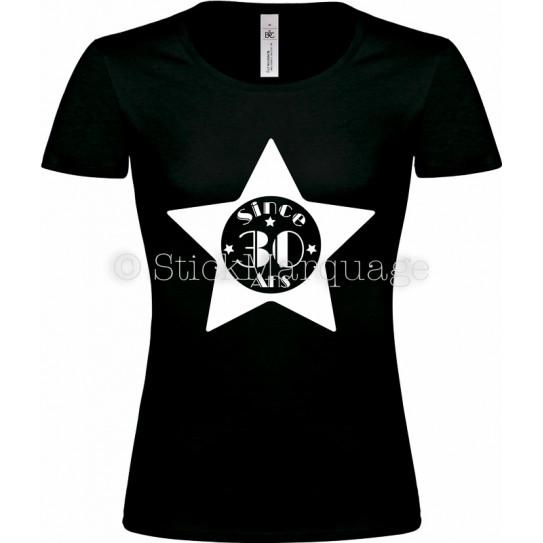 """Tee-shirt Noir Femme 30ème Anniversaire """"Since 30 Ans"""""""