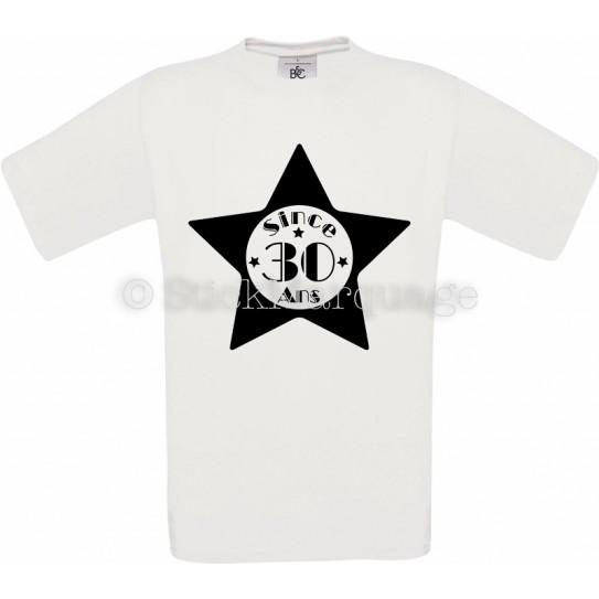 Tee-shirt Blanc Homme 30ème Anniversaire - Since 30 Ans