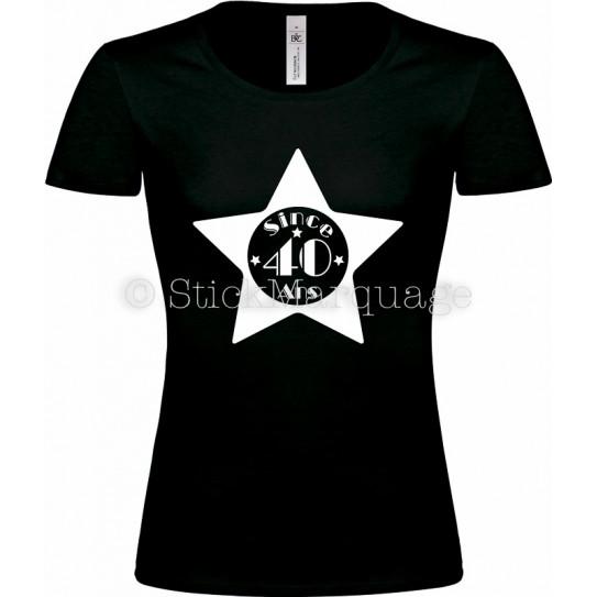 """Tee-shirt Noir Femme 40ème Anniversaire """"Since 40 Ans"""""""