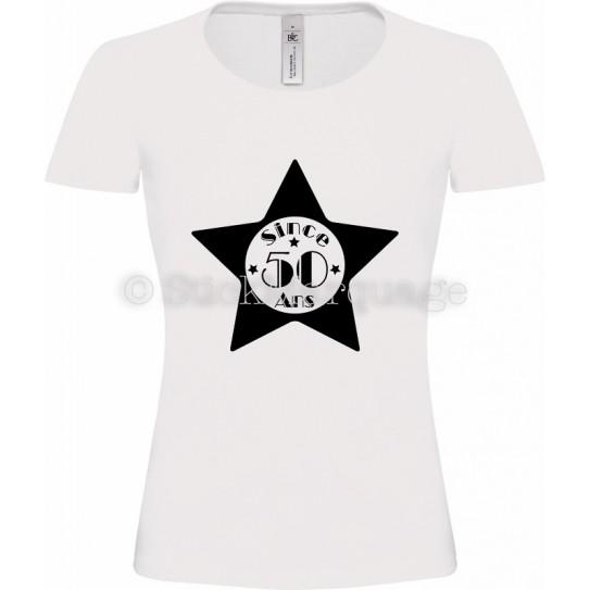 """T-shirt Légende Blanc Femme 50ème Anniversaire """"Since 50 Ans"""""""