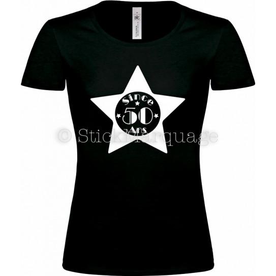 """T-shirt Noir Femme 50ème Anniversaire """"Since 50 Ans"""""""