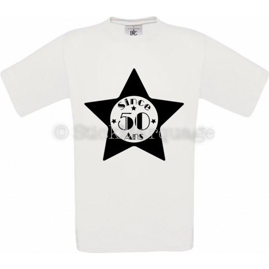 Tee-shirt Blanc Homme 50ème Anniversaire - Since 50 Ans