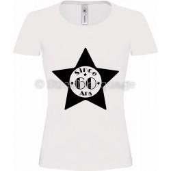 """T-shirt Star Blanc Femme 60ème Anniversaire """"Since 60 Ans"""""""