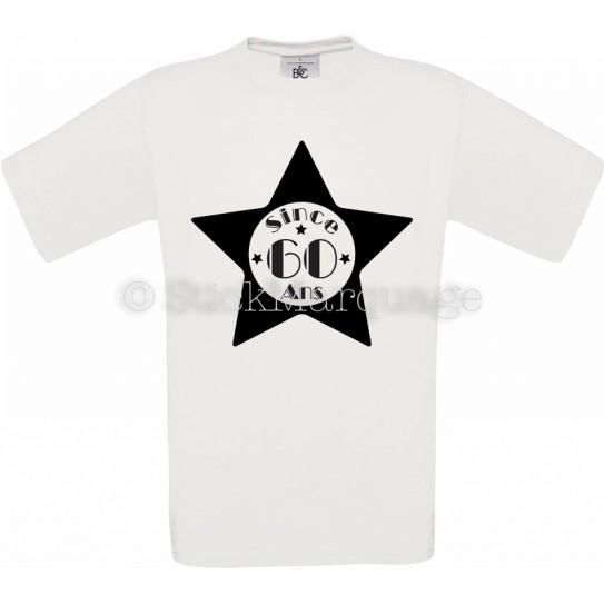 Tee-shirt Star Blanc Homme 60ème Anniversaire - Since 60 Ans