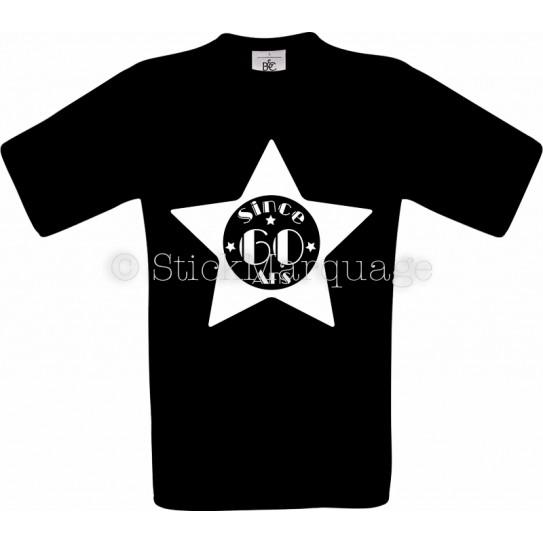 T-shirt Star noir Homme 60ème Anniversaire - Since 60 Ans